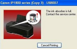 ink absorber is full canon ip1880