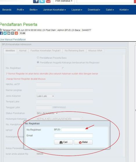 Tahap 10 Mengisi Email dan Nomor Registrasi Pendaftaran